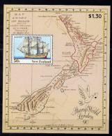 NOUVELLE ZELANDE   Timbre Neuf ** De 1990  ( Ref 4010 )  Bateau-explorateur- Cook - Blocchi & Foglietti