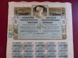 SOCIETE ATHENIENNE D´AUTOMOBILES ATHENA  COUPURE DE 5 ACTIONS 1925 TOP DECO - Automobile