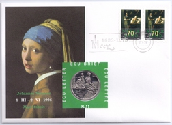 Netherlands 1995 Mi. 1563 FDC With ECU Coin, Letter Writing Lady And Maid, Painting By Johannes Vermeer - Art