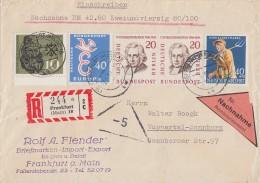 Bund R-NN Brief Mif Minr.296,300,308, Berlin Minr. 2x 167 Frankfurt - BRD