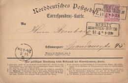 NDP Karte EF Minr.16 R3 Berlin Anhalter-Bahnh. 14.4. - Norddeutscher Postbezirk