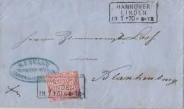NDP Brief EF Minr.16 R3 Hannover Linden 19.7.70 Gel. Nach Blankenburg Ankunftsst. - Norddeutscher Postbezirk