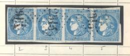 YVERT NR. 46B  - FRANCE - CERES EMISSION DITE DE BORDEAUX AN 1871 - TIE OF FOUR - TYPES  2-3-4-5 - 1871-1875 Ceres