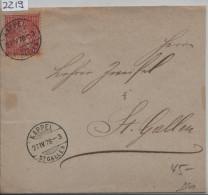 1878 Sitzende Helvetia/Helvétie Assise 38/30 - Stempel: Kappel St. Gallen - Lettres & Documents