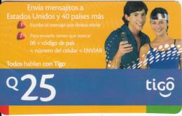 GUATEMALA - Couple, Tigo Prepaid Card Q.25, Used - Guatemala