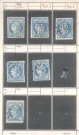 YVERT NR. 45A - FRANCE - CERES EMISSION DITE DE BORDEAUX AN 1871 - TYPE II REPORT I OBLITERE  LOT DE 6 TIMBRES - 1871-1875 Cérès