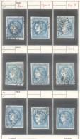 YVERT NR. 45C - FRANCE - CERES EMISSION DITE DE BORDEAUX AN 1871 - TYPE II REPORT 3 OBLITERE  LOT DE 9 TIMBRES - 1871-1875 Ceres