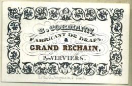Porceleinkaart - Carte Porcelaine - 19ème Siècle - 19de Eeuw -  B. Cormann Fabricant De Draps Grand Rechain Verviers - Advertising