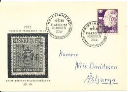 Sweden Special Card Kristianstads Filatelistklubb 20th Anniversary 5-11-1955 - Sweden