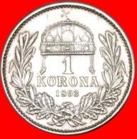 § CROWN OF ST. STEPHEN: HUNGARY★1 KORONA 1893 SILVER! LOW START★ NO RESERVE! Franz Joseph I (1848/1867-191 - Hongarije