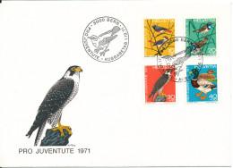 Switzerland FDC 1-12-1971 Complete Set Of 4 Pro Juventute BIRDS With Cachet - Pro Juventute