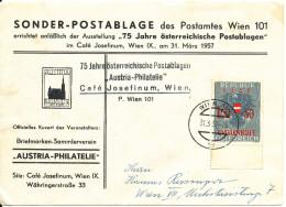 Austria Special Cover Austria Philatelie Sonder Postablage Wien 31-3-1957 Help Hungary Overprinted Stamp - 1945-.... 2nd Republic