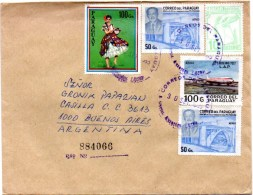 PARAGUAY 1985 - Registered Air Cover From Asuncion To Buenos Aires, Argentina. Birds, Audubon, Costume, Aircraft. - Paraguay