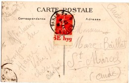 CP De Rouen A Paris _ Ambulant_ Pour  Carcassonne_Saint Marcel _50 C _bande Pub - 1906-38 Semeuse Camée