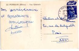 CP De Le Perreon Pour Paris Bande Pub_Bic - 1945-54 Marianne De Gandon