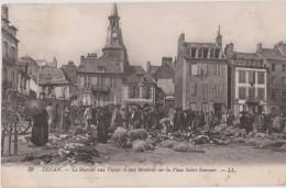 DINAN - Le Marché Aux Veaux Et Aux Moutons Sur La Place Saint Sauveur - Personnages, Animaux ( Carte Très Animée ) - Dinan