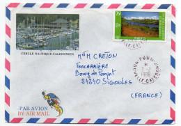 """Nlle Calédonie--1988-Lettre Avec Tp""""Paysage Du Sud"""" Seul Sur Enveloppe Illustrée Pour Sigoules-24--Cachet Rond POUM - Briefe U. Dokumente"""