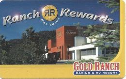 Gold Ranch Casino - Verdi, NV - Blank Slot Card - Casinokaarten
