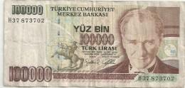 TURKIYE CUMHURIYET MERKEZ BANKASI . 100.000 . 14 OCAK 1970. TRACES DE PLI - Turquie