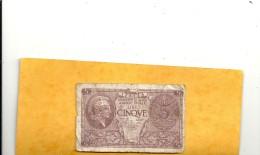 ITALIA . REGNO D´ITALIA . BIGLIETTO DI STATO . CINQUE LIRA . 23-11-1944 . TRACES DE PLI . 2 SCANES - [ 1] …-1946 : Reino