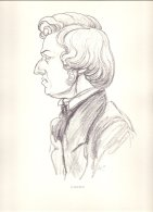 PIC00004 Charcoal Portrait Of Composer Frederic Chopin. - Old Paper