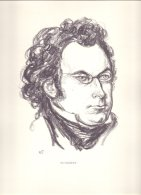 PIC00007 Charcoal Portrait Of Composer Franz Schubert. - Old Paper
