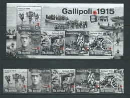 Australia 2015 WWI Gallipoli Strip Of 5 + Miniature Sheet MNH - Nuovi