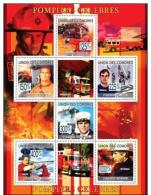 COMORES 2009 SHEET FAMOUS FIREFIGHTERS POMPIERS CELEBRES FIRE ENGINES FIRE TRUCKS FIREMAN 11 SEPTEMBER Cm9219a - Isole Comore (1975-...)