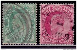 India, 1906, King Edward VII, Scott# 78-79, Used - India (...-1947)