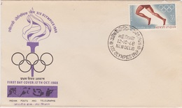 India 1968, Olympic Summer Games In Mexico, First Day Cover - Summer 1968: Mexico City