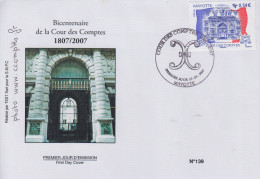 Enveloppe  FDC  1er  Jour    MAYOTTE     Bicentenaire  De  La  COUR  DES  COMPTES   2007