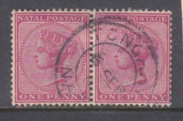 S.Africa, Natal, 1882 1d Carine, Pair, Used, TONGAAT NATAL 6 SEP 02, C.d.s. - Afrique Du Sud (...-1961)