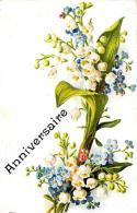 [DC3369] CPA - ANNIVERSAIRE - MAZZO DI FIORI - IN RILIEVO - Viaggiata - Old Postcard - Cartoline