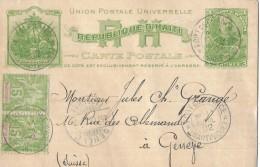 REPUBLIQUE D'HAITI - GENÈVE → Postkarte Mit Zusatzfrankatur ►Stempel Fort De France (Martinique) 11.April 19 - Haiti