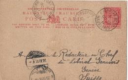 CUREPIPE MAURITIUS - GENÈVE → Postkarte Via Fort Luis Nach Genf ►Stempel Curepipe 28.10.1911◄ - Maurice (1968-...)