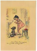 Poster Ancien Signé Germaine Bouret En Papier Cartonné - 21 X 29.7 Cm - Enfant - Chien - Gant - - Non Classificati