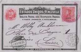 VENEZUELA - GENÈVE → Interessante Postkarte/Emision De Febrero De 1900 ►Stempel Ligne D 29.01.1901◄ - Venezuela