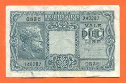 Italie - Billet De 10 Lire - Dieci Lire - [ 1] …-1946 : Kingdom