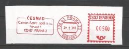 A3 Czech Republic 2001. Machine Stamp Cut Fragment CESMAD Camion Servis Truck Prague - Trucks