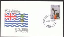 British Indian Ocean Territory Diego Garcia Chagos 1992 / Flags / Greater Frigate Birds - Buste
