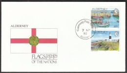 Alderney 1992 / Flags / Ships / Harbour / Lighthouse