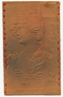 Art Nouveau Carte En Cuir Profil Gaufrée Timbrée Richmond Virginia 1906 Leather Card Tanner Souvenir - Sonstige