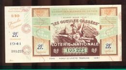Billet De La Loterie Nationale De 1941  -  Les Gueules Cassées   -  21 ème  Tranche  -  Avec Talon - Lottery Tickets