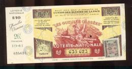 Billet De La Loterie Nationale De 1941  -  Les Gueules Cassées   -  26 ème  Tranche  -  Avec Talon - Lottery Tickets