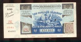 Billet De La Loterie Nationale De 1941  -  Les Gueules Cassées   -  24 ème  Tranche  -  Avec Talon - Lottery Tickets