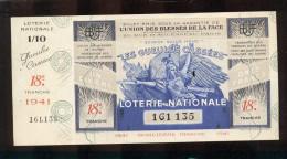 Billet De La Loterie Nationale De 1941  -  Les Gueules Cassées   -  18 ème  Tranche  -  Avec Talon - Lottery Tickets