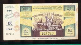 Billet De La Loterie Nationale De 1941  -  Les Gueules Cassées   -  19 ème  Tranche  -  Avec Talon - Lottery Tickets