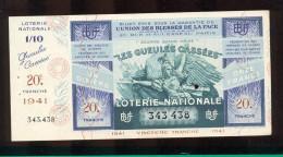 Billet De La Loterie Nationale De 1941  -  Les Gueules Cassées   -  20 ème  Tranche  -  Avec Talon - Lottery Tickets