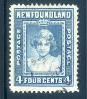 Newfoundland 1941-44 KGVI Definitives (P.12½) - 4c Princess Elizabeth Used (SG 279) - 1908-1947