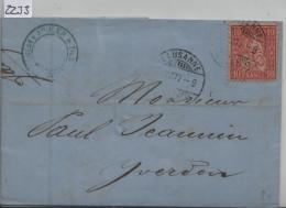 1877 Sitzende Helvetia/Helvétie Assise 38/30 - Stempel: Lausanne (Amedee Kohler & Fils Chocolade) Nach Yverdon - Lettres & Documents